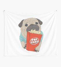 Pug with popcorn Wall Tapestry