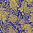 Floral Pattern - Dark Blue and Gold by RainbowFoxy