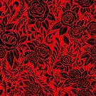 Floral Tile Pattern - Red and Black 2 by RainbowFoxy
