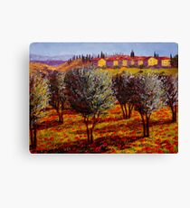 Tuscany Village Above the Olive Grove Canvas Print