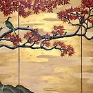 Fall Leaves with Japanese Birds by Julie Ann Accornero