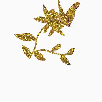 Gold Butterfly & Flower by demijohn