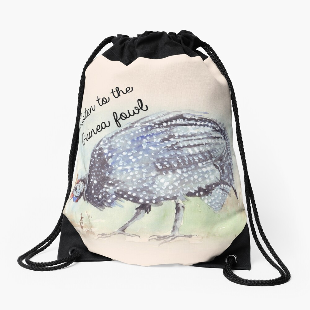 Listen to the Guinea Fowl Drawstring Bag