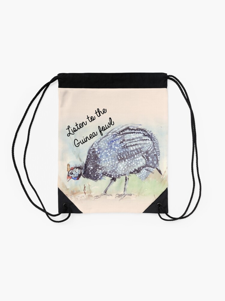 Alternate view of Listen to the Guinea Fowl Drawstring Bag