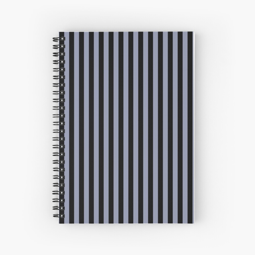 Cool Gray and Black Vertical Stripes Spiral Notebook