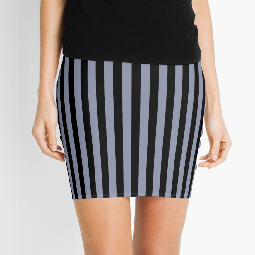 Cool Gray and Black Vertical Stripes Mini Skirt
