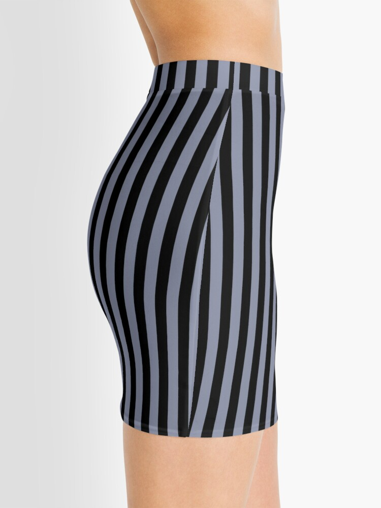 Alternate view of Cool Gray and Black Vertical Stripes Mini Skirt