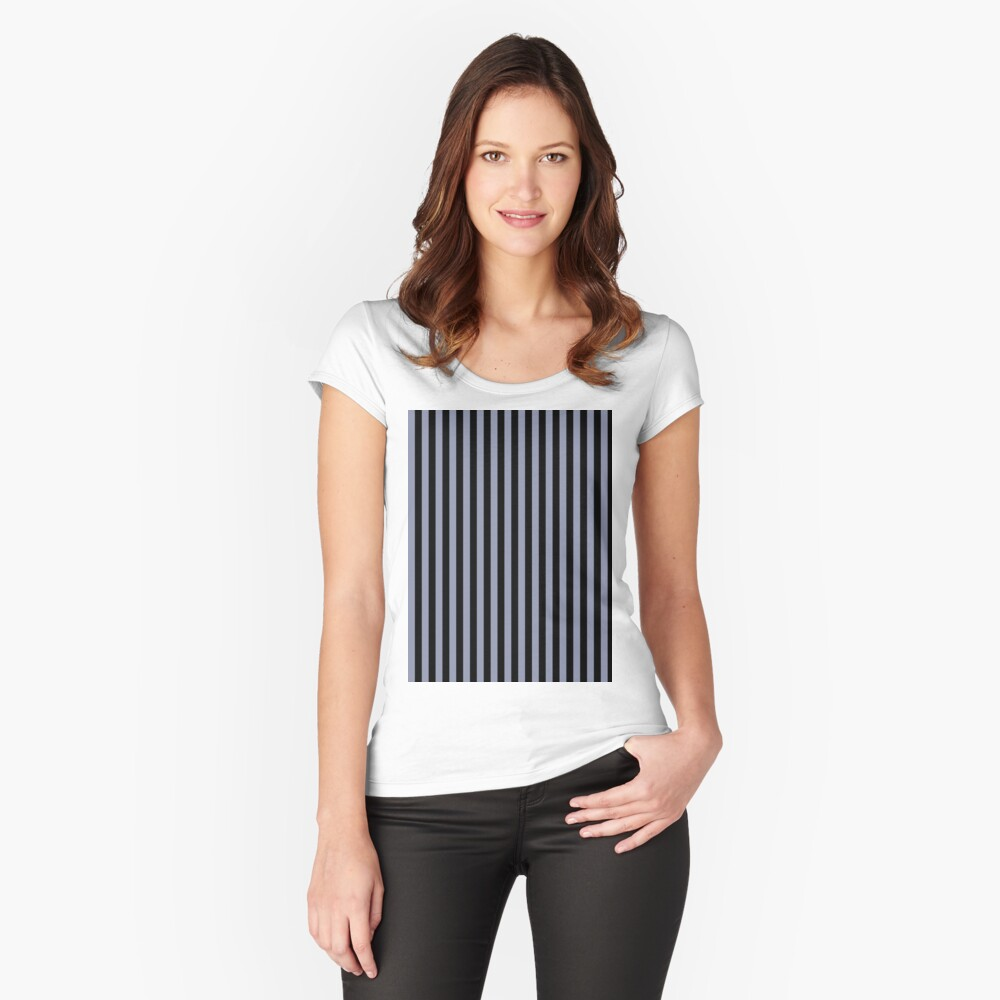 Cool Gray and Black Vertical Stripes Fitted Scoop T-Shirt