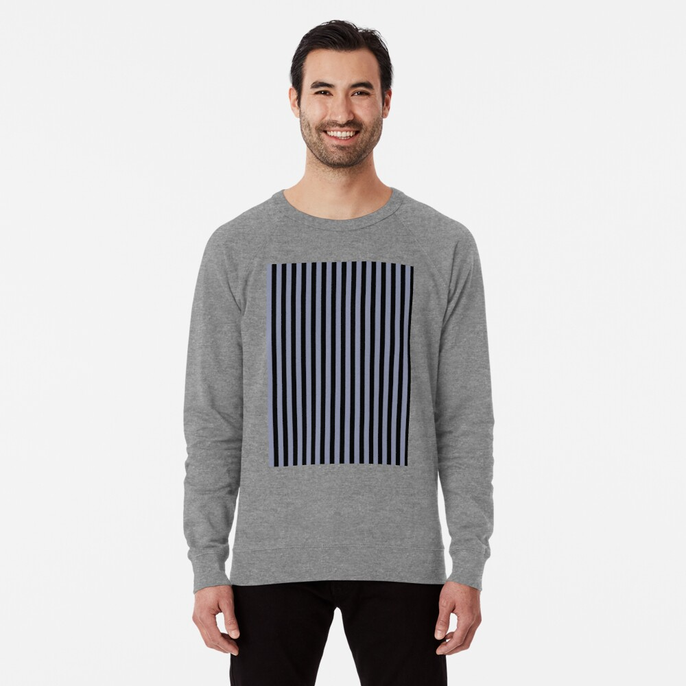 Cool Gray and Black Vertical Stripes Lightweight Sweatshirt