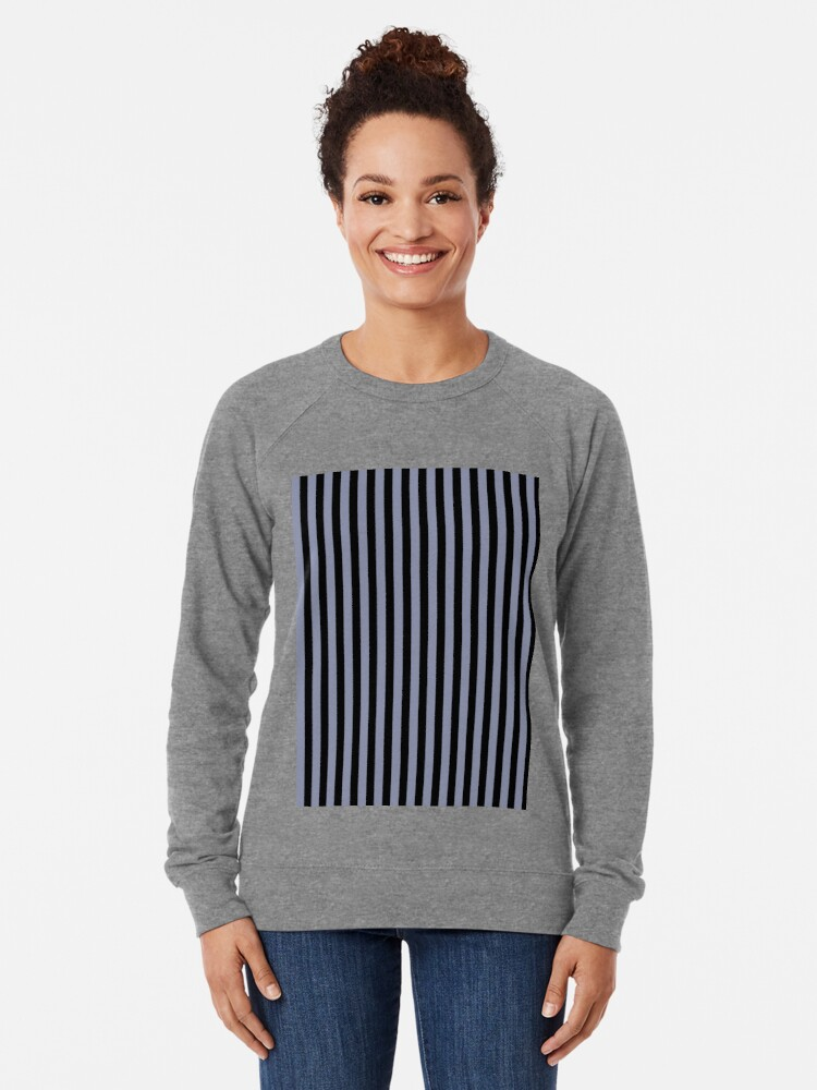Alternate view of Cool Gray and Black Vertical Stripes Lightweight Sweatshirt