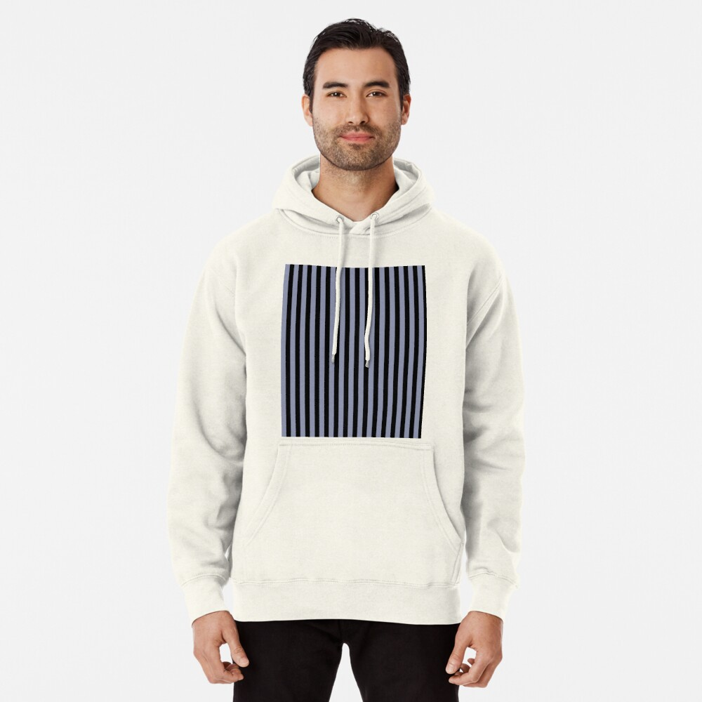 Cool Gray and Black Vertical Stripes Pullover Hoodie