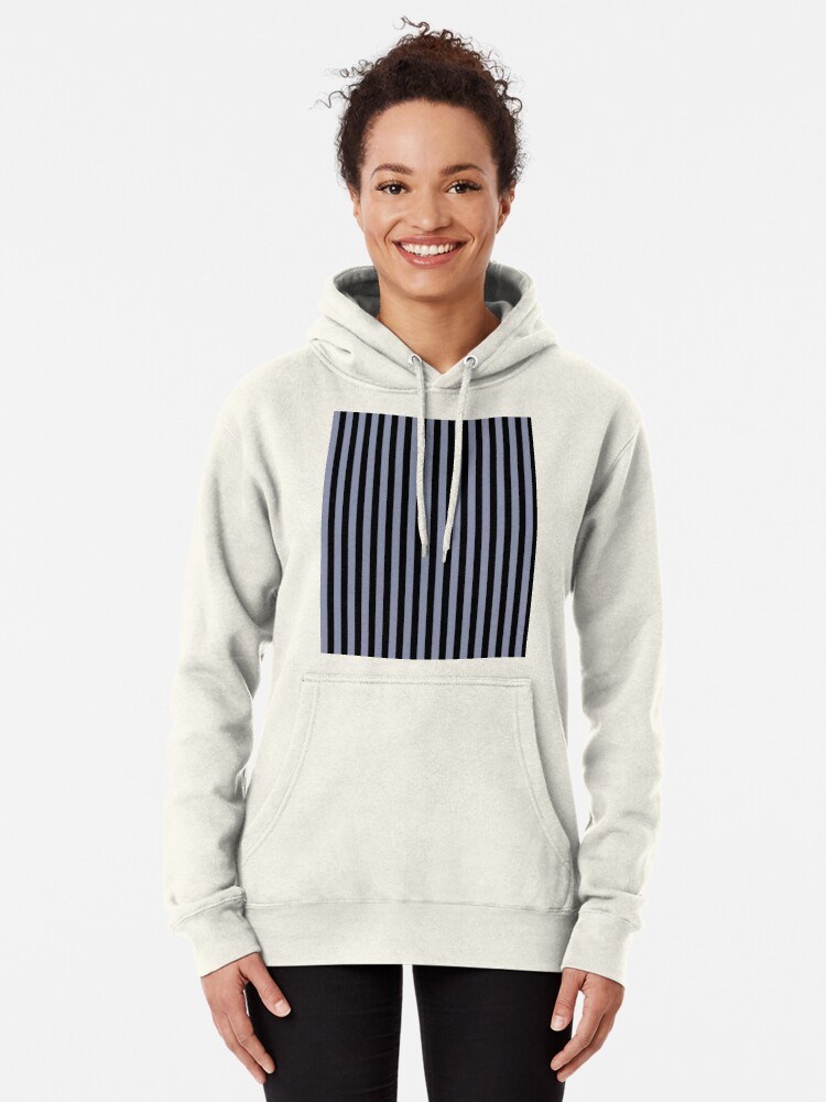 Alternate view of Cool Gray and Black Vertical Stripes Pullover Hoodie