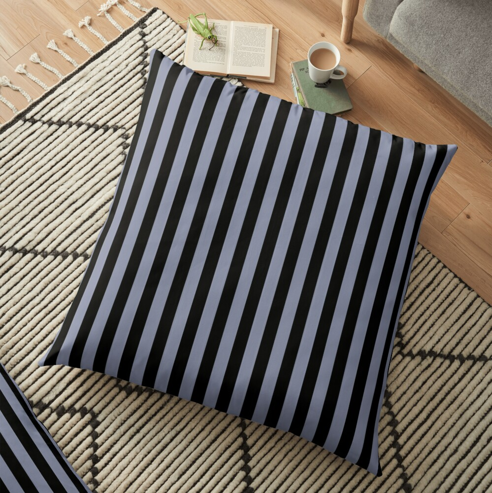 Cool Gray and Black Vertical Stripes Floor Pillow