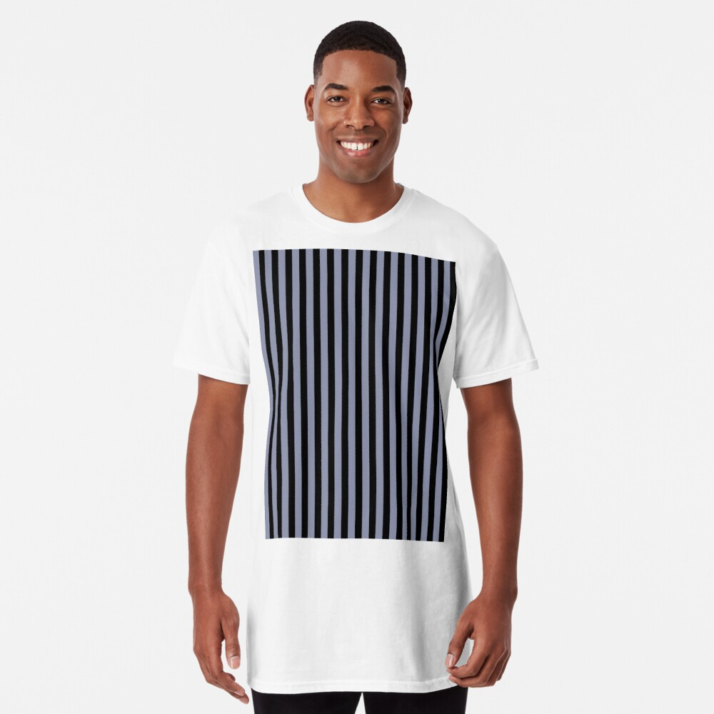 Cool Gray and Black Vertical Stripes Long T-Shirt