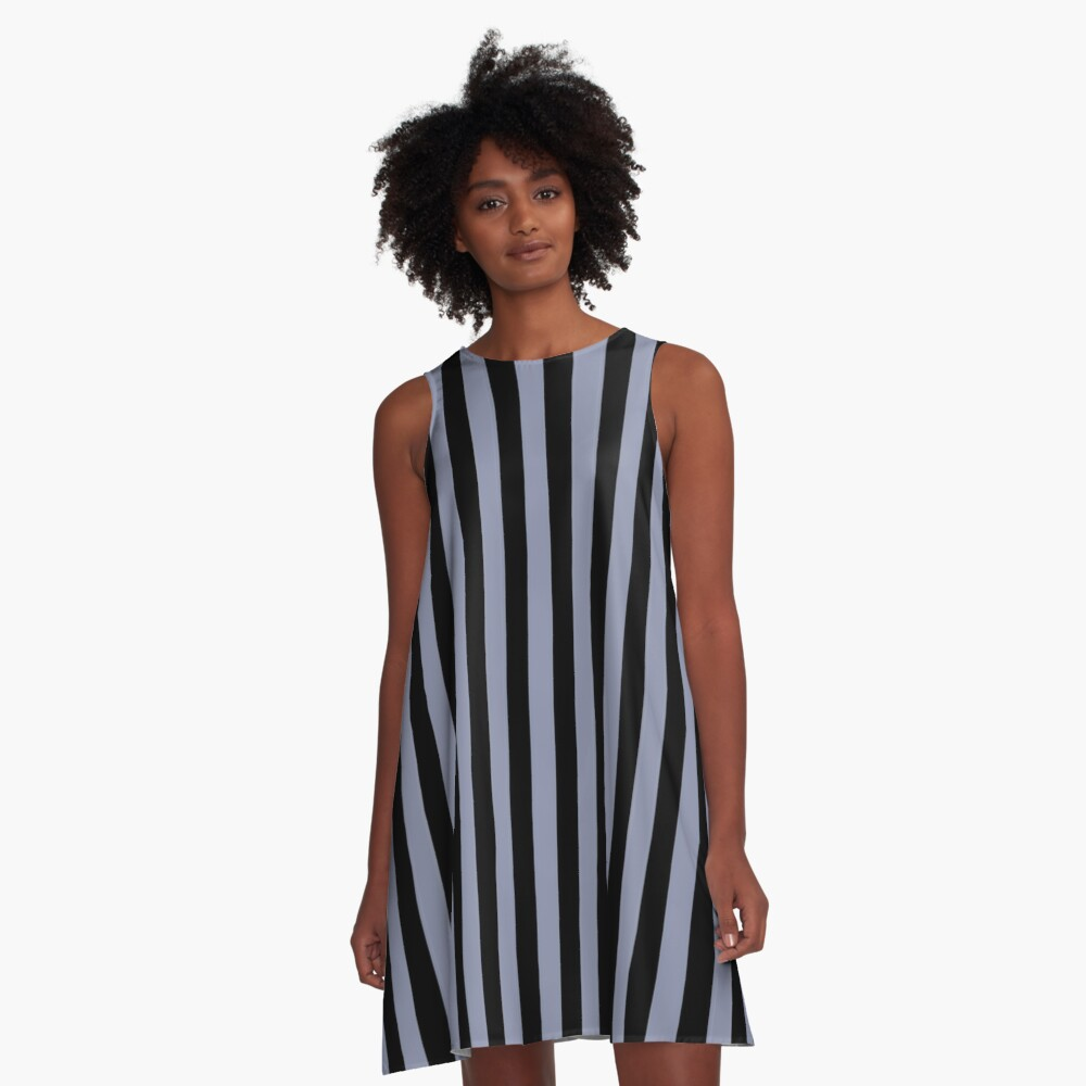 Cool Gray and Black Vertical Stripes A-Line Dress