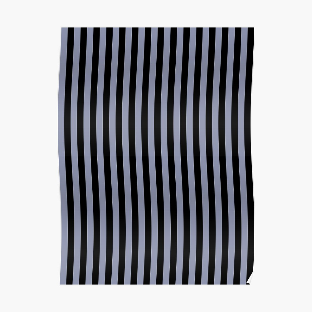 Cool Gray and Black Vertical Stripes Poster