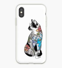Cat in Lotus Tattoo iPhone Case