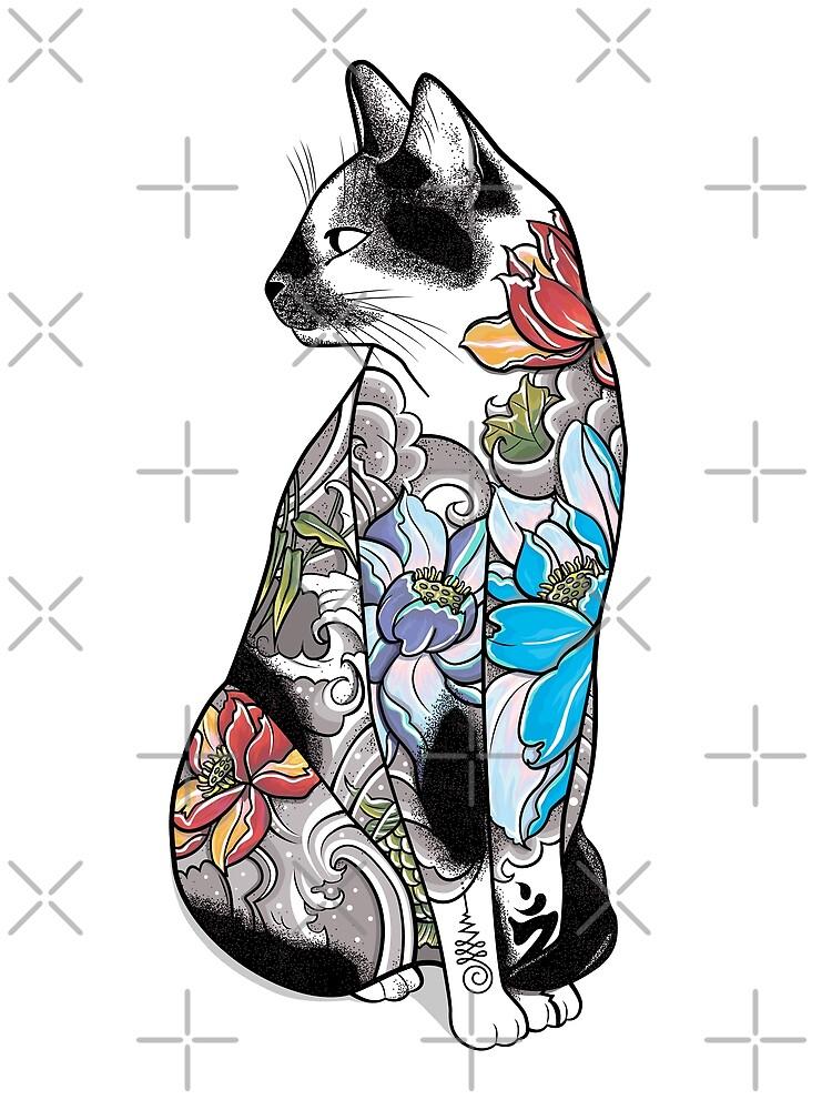 Gato en Lotus Tattoo de runcatrun