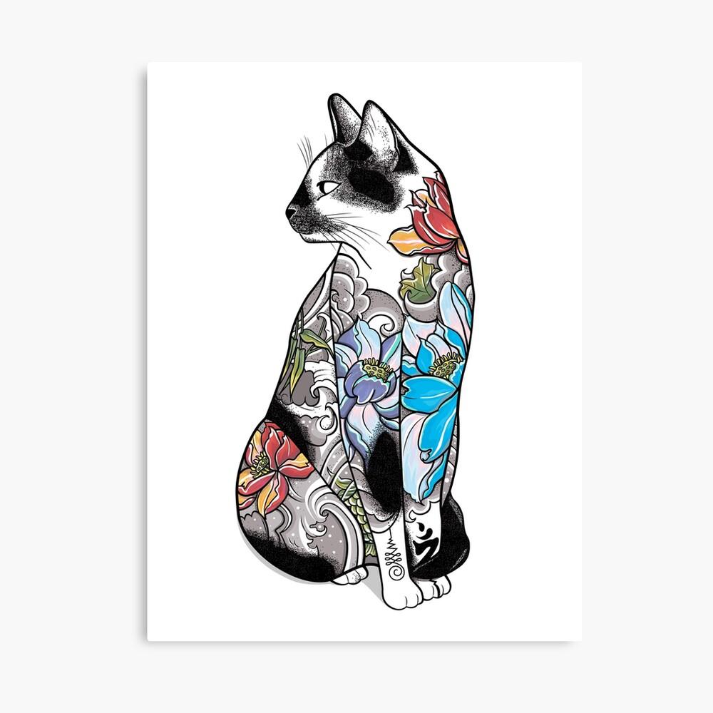 Katze in Lotus Tattoo Leinwanddruck