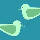 Shorebirds Pair in Cyan and Sea Foam blue green by kierkegaard