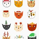 Kitty Cat Cute Funny Christmas Hat Art by Nic Squirrell