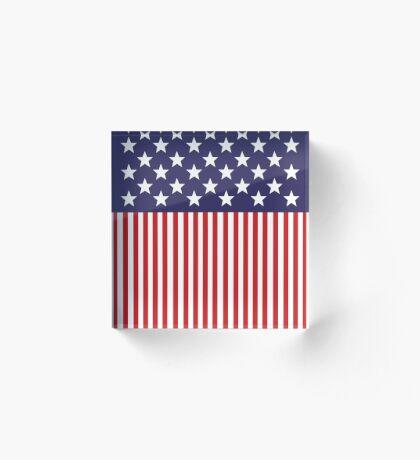 Stylized American Flag Acrylic Block