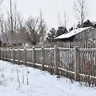 Wooden Picket Fence and Barn by mltrue