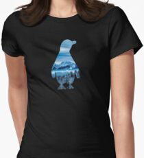 Penguin nature mountains Women's Fitted T-Shirt