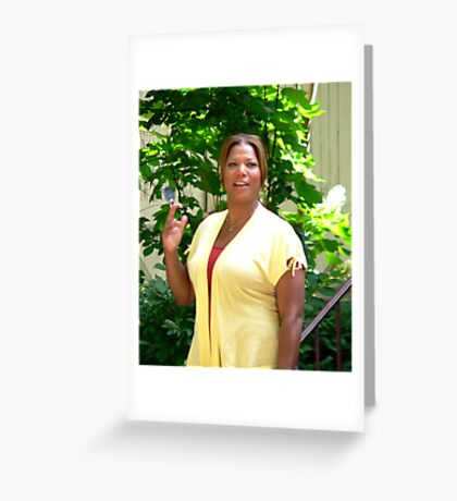 Queen Latifa on the set Greeting Card