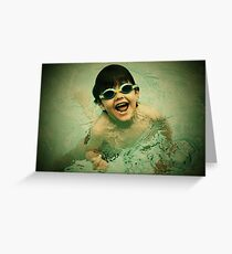 swimming in pool Greeting Card