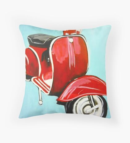 Red on Turquoise - acrylic on canvas 2010 Throw Pillow