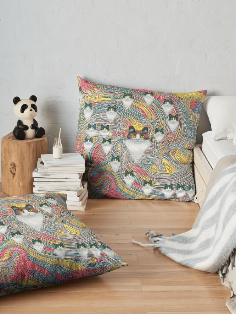Alternate view of Abstract fibonacci cats Floor Pillow