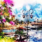 Boats Flowers Harbor by mimio2009
