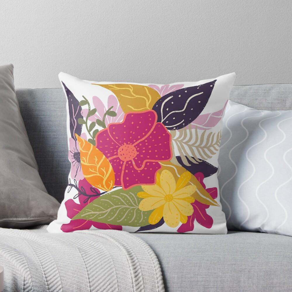 Moderna composición floral grande ilustración tendencia de color por Girly Trend Cojín