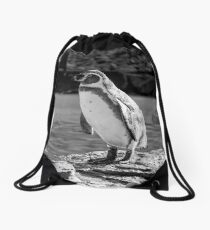 Penguin in Black & White Drawstring Bag