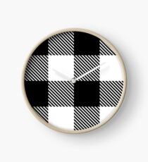 Black White Buffalo Plaid with Twill Clock
