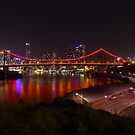 Story Bridge in pink lighting by Andrew Durick