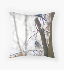 Blue Jays in Winter Throw Pillow