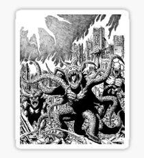 City Burn Monster Horror Art Sticker