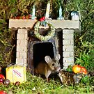 Christmouse by the fire place waiting for santa  by Simon-dell
