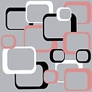 Pink White Black Retro Squares Gray Background by ValeriesGallery
