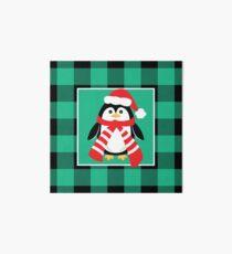 Christmas Penguin Buffalo Plaid Art Board