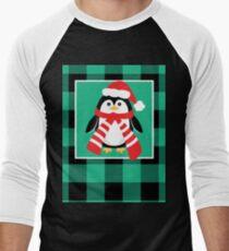 Christmas Penguin Buffalo Plaid Men's Baseball ¾ T-Shirt