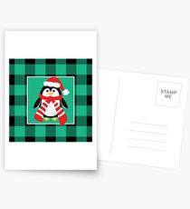 Christmas Penguin Buffalo Plaid Postcards