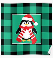 Christmas Penguin Buffalo Plaid Poster