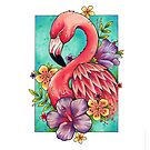 Neo Traditional Pink Flamingo by lornalaine