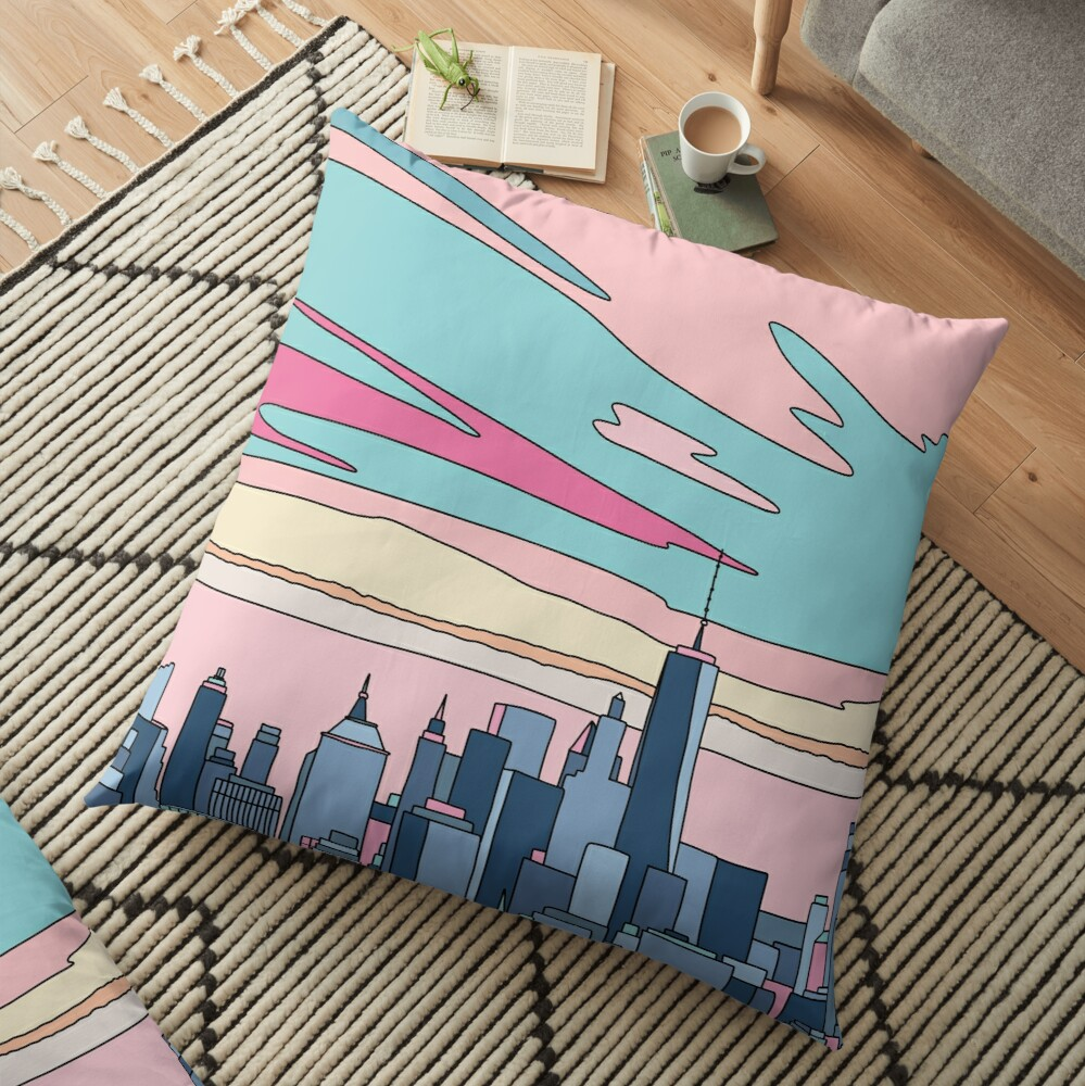 City sunset by Elebea Floor Pillow