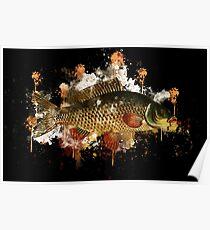 Animal carp fish watercolor painted Poster