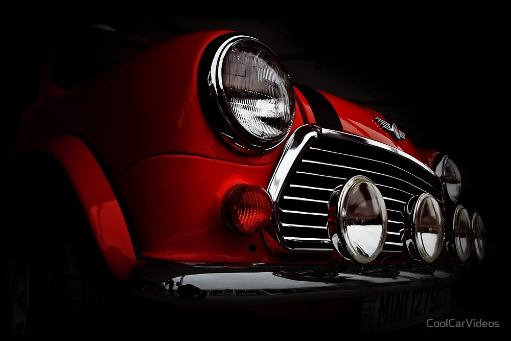 red Classic mini with rally lights  shirt