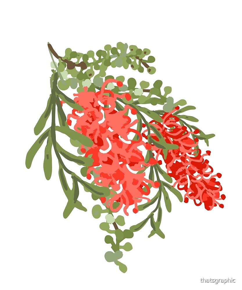 Modern Australian Native Grevillea in Pantone Living Coral by thatsgraphic